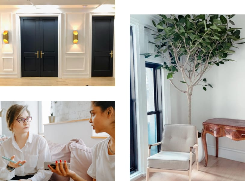 Collage of three photos displaying Clarity Therapy office navy doors with gold sconces. Sunlight office shows tree, chair and desk.